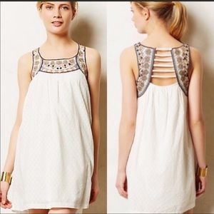 Lilka Embroidered White Dress By Anthro